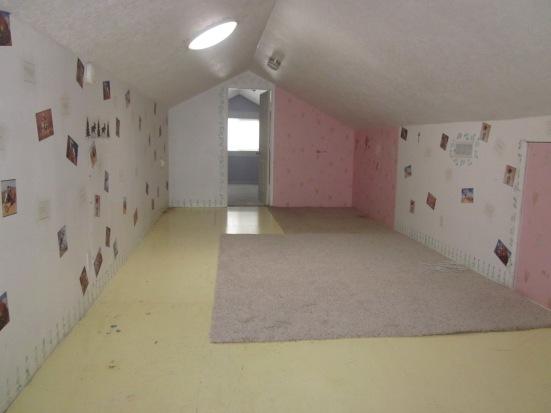 Attic storage space- used as playroom